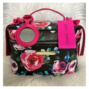 BETSEY JOHNSON Floral Train Case Cosmetics Bag NWT